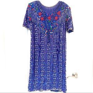 Vintage Sequin Pearl Blue Silk Jewel Queen Dress